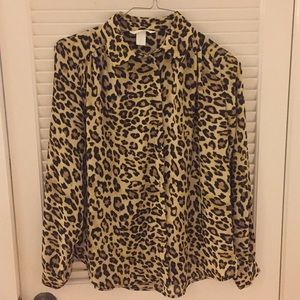 H&M Button Down Blouse Cheetah - Leopard Print